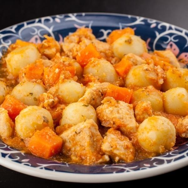Nhoque de batata doce com frango